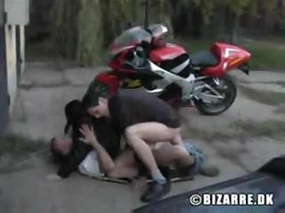 Porno Video of Soft-skinned Biker Girl Makes Two Dirty Guys' Sexual Fantasies Real