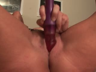 Blonde mature in big tits masturbating cunt with toys and fingers