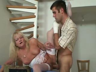 Porn Tube of Blonde Granny In White Stockings Fucks