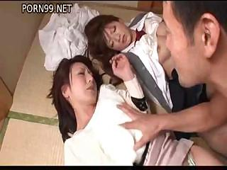Porno Video of Two Helpless Asian Hoochies Get Bound And Teased By Their Master