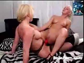 Porn Tube of Old Lesbian Hooker Grabs A Strapon And Fucks A Fresh Blond Teeny