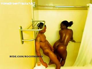 Porn Tube of Ebony Girl With Big Tits And Ass Getting Fucked In Shower - Spy Video
