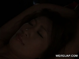 Busty asian sex slave in ropes cunt nailed with a big tube