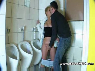 Mature whore fucked in public bathroom