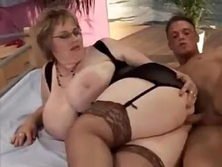 Sex Movie of Bbw Babe Keeps On Her Black Stockings While She Fucks This Guy