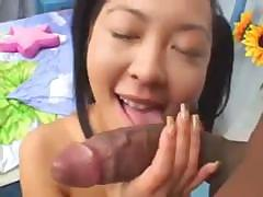 Asian slut Liliane gets a large black dick about her tiny ass