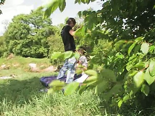 Teenagers fuck in the forest