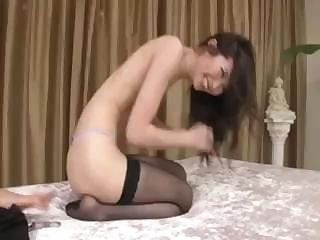 Porn Tube of Sexy Asian In Stocking Gives A Nice Blowjob Before Fucking Him