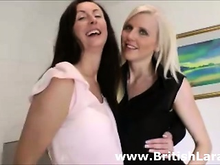 Mature British lady dresses girl in nylons
