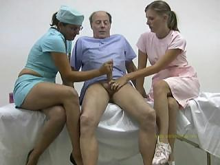 Porno Video of Doctor And Her Nurse Cured And Hardened An Old Man's Lousy Cock