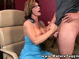 Mature busty handjob milf tugging on cock   Big Boobs Update