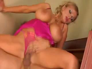 MILF Sharon has big bouncy tits and fucks hard cock on stairs