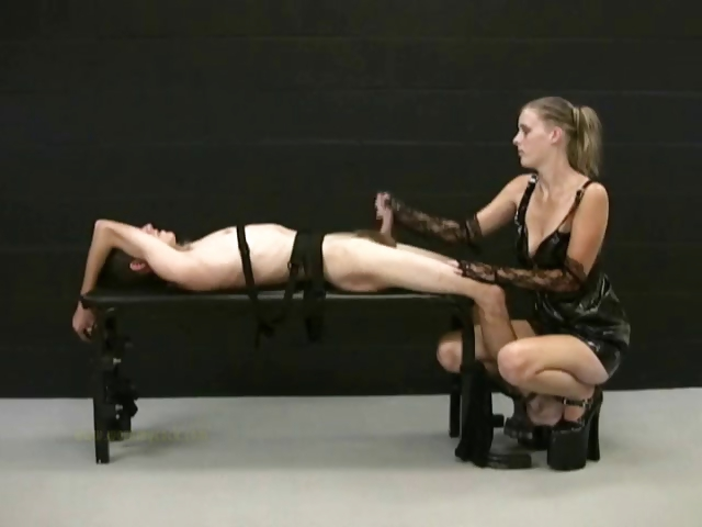Porno Video of Blonde Mistress Jerks Off Her Tied Up Slave And Demands For More Cum