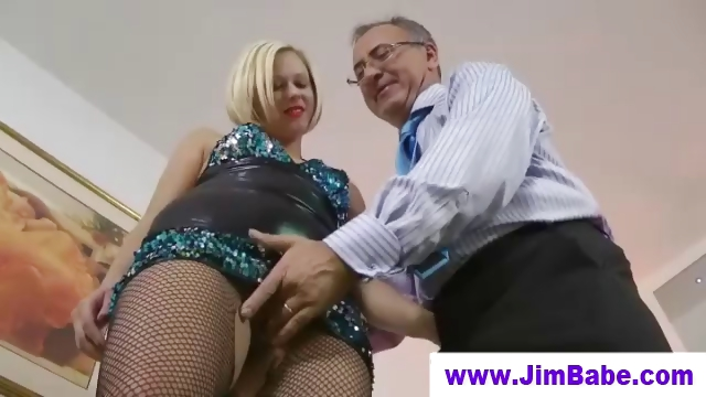 Porn Tube of British Milf Fingering Before Old Man