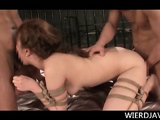 BDSM Asian hardcore 3some with roped chick fucking two dicks