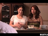 Excited jap maid with huge boobs hearing masters fucking