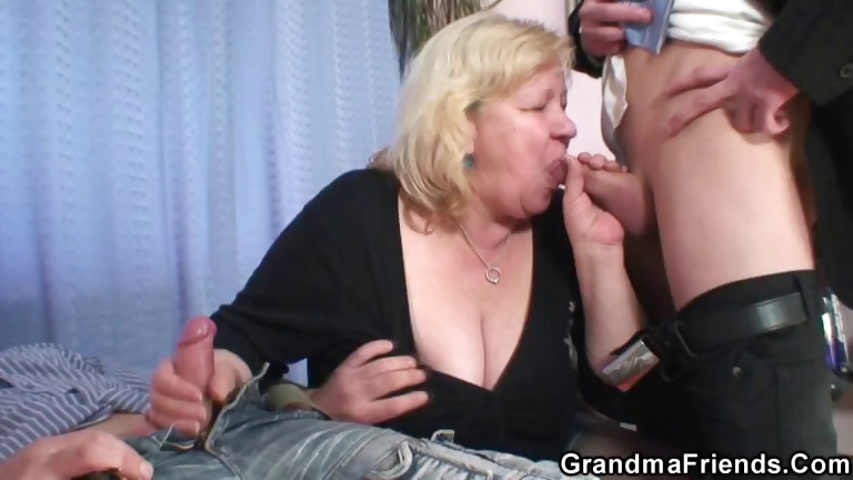 Porno Video of Granny Gives Double Blowjob And Gets Fucked