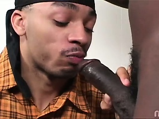 Blue Ice hooks up with Thugzilla for an awesome suck and fuck session. These two hot black studs are giving each other what they need big time! Dont miss this episode of His First Gay Sex and see how hot things get!