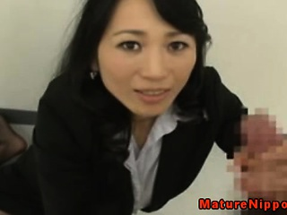 Oriental office mature jerks and rim