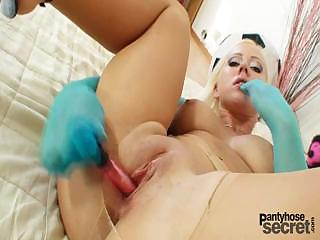 Porno Video of Blonde Bibi Fox Pantyhose Fetish Masturbation