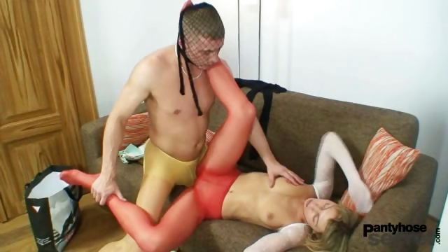 Porno Video of Blond Babe Vanesa And A Guy They Both Wearing Nylons And Having Bizarre Nylon Sex