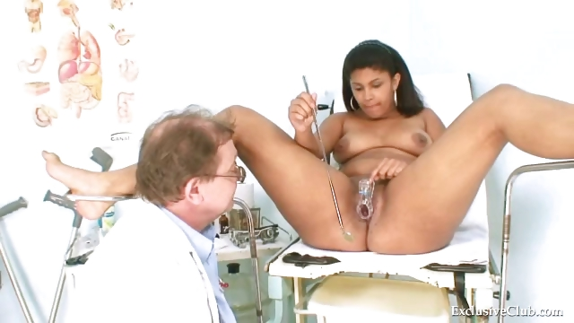 Porn Tube of Manuela Black Pussy Gyno Speculum Kinky Exam By Old Doctor