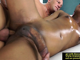 Ebony shemale pounding tight ass in high def