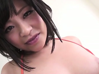 Aika Hoshinos big torpedo tits played with before her