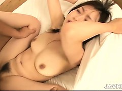 Adorable Nozomi Hatsuki in green lingerie pulls out a semi