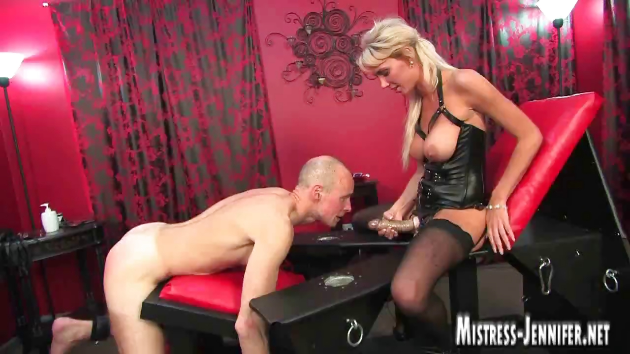 Porn Tube of Tall Leggy Blonde Dominatrix Strapon And Fucking