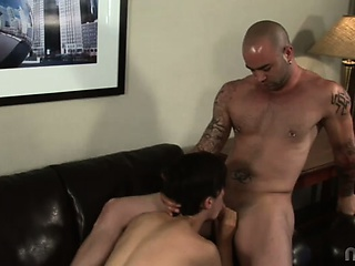 Kyle was a lean, mean brunette stud who thought his experienced asshole could handle any man-hammer swung its way...but poor Kyle had never seen anything like Sam Swifts daunting dick! Kyle took that massive member into his mouth, lubing it up for its