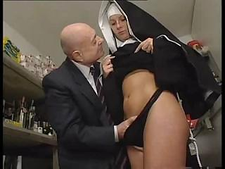Porno Video of Nun And A Dirty Old Man Get To Playing Around With Her Pussy