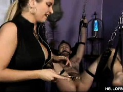 Порно видео онлайн издевательства над членом током