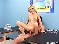 Nerdy blonde girl gets a special lesson from her teacher | Pornstar Video Updates