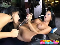 Sublime brunette sapphic nymphets sharing a giant dildo in a nice kiss | Pornstar Video Updates