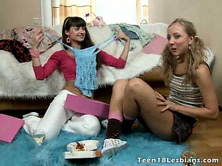 Precious teen lesbians Bonny And Alice drinking champagne