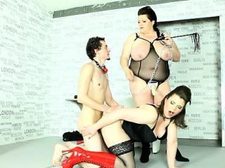 Boy slave gets ass fucked in BBW femdom session