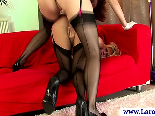 Mature stockings using strapon on tight pussy