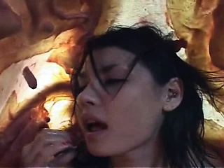 Nude asian girl licks freaky tentacle