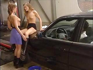 Sex Movie of Lesbian Babes Are At The Carwash And Giving This Guy A Taste