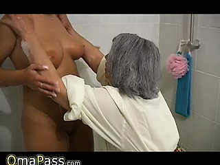 BBW gray chubby Granny with old Mature woman in bath