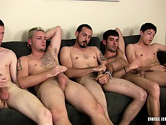 5 guys gush cum on a muffin that the last to cum has to eat!