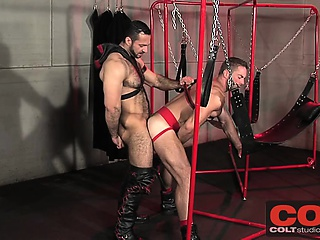 Musclebear Adam throws Jake in a sling and pounds his ass
