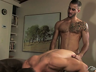 2 muscle hunks sucking some dick Landon gets ass fucked hard