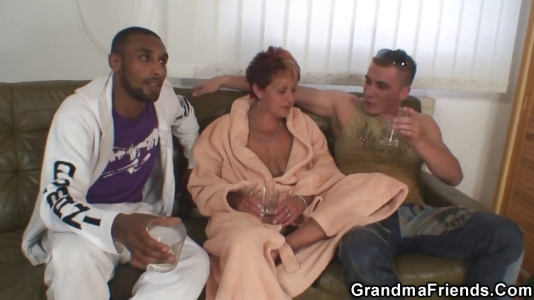 Porno Video of Naughty Granny Takes Two Cocks At Once
