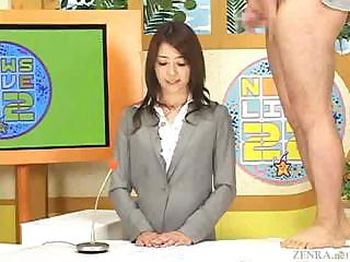 Porno Video of Newscaster In Japan Gets A Hot Load On Her Face In Bukkake Tv