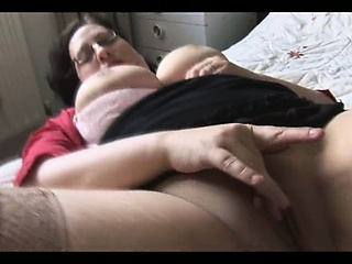 Large breasted mature BBW in stockings strips and teases