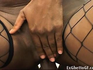 Black beauty in lingerie does analBlack beauty in latex