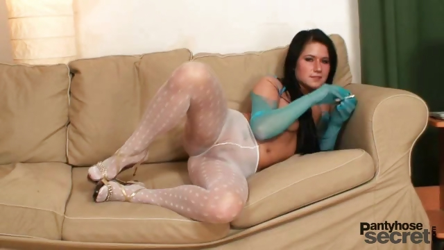 Porn Tube of Lovely Babe In White Nylon Pantyhose Gets Nasty