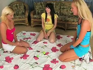 Teenage lesbian threesome